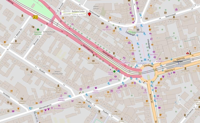 Karte des Praxisstandortes Köln von Barbara Grebe